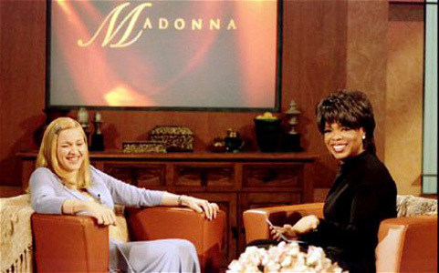 Madonna appears on the Oprah Winfrey Show.