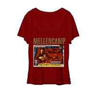 John Mellencamp red scoop women's comic book tee