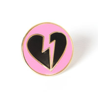 Heartbreak Lapel Pin on pink