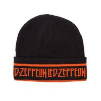 Led Zeppelin Black Beanie Hat With Orange Logo
