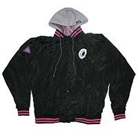 DONUT O LOGO HOODED VARSITY JACKET
