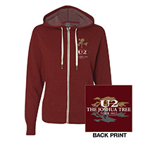 The Joshua Tree Tour Women's Full Zip Hooded Sweatshirt