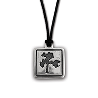 The Joshua Tree Square Silver Pendant on Cord