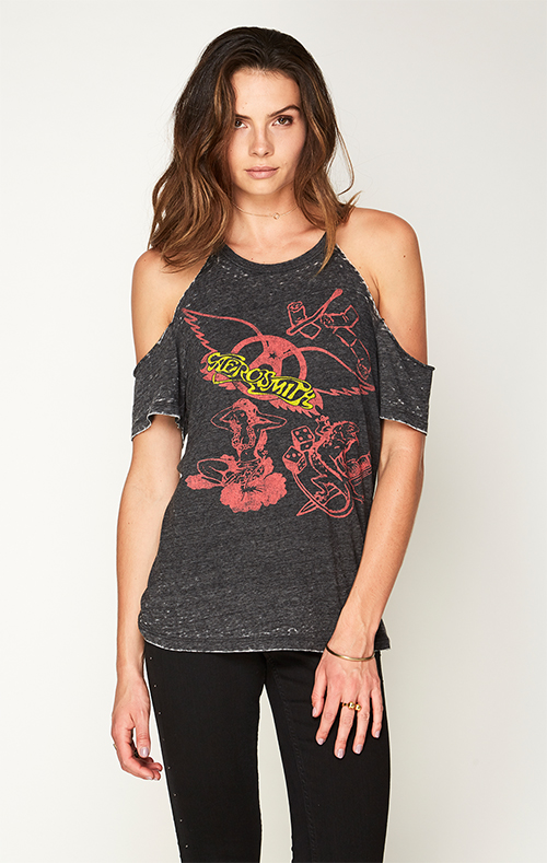Aerosmith Shortsleeve Cold Shoulder Tee