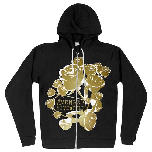 Gold Roses Zip-Up Hoodie