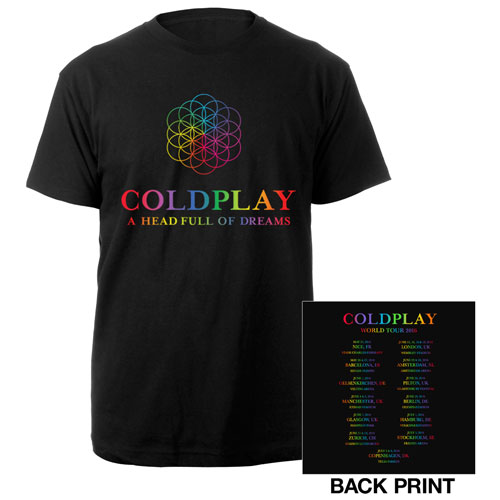 Coldplay A Head Full Of Dreams Europe 2016 Tour T-Shirt