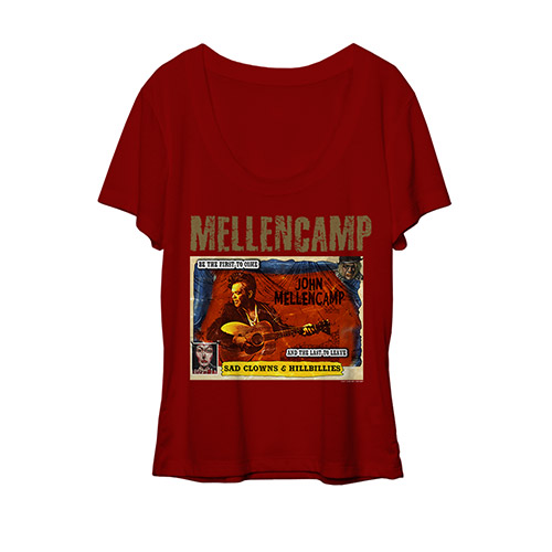 John Mellencamp red scoop women's comic book tee