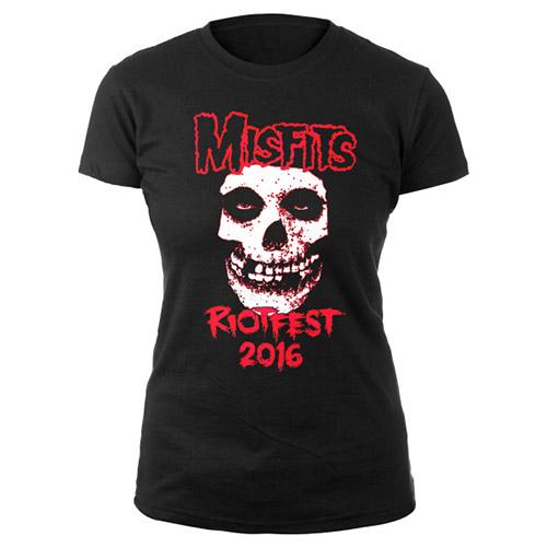 Womens Misfits  Skull Riotfest 2016 Chicago Tee