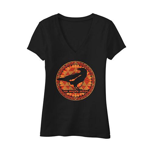 Ladies V-Neck Flowy Tee  with Orange Logo