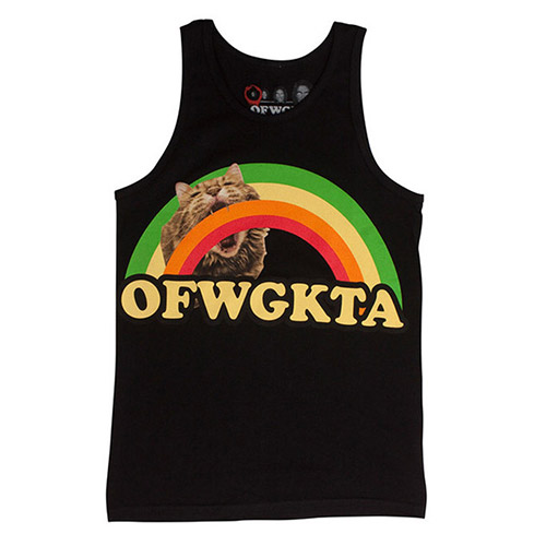 GIRLS RAINBOW CAT TANK BLACK