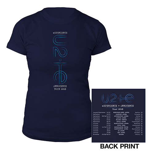 U2 eXPERIENCE + iNNOCENCE European Tour Navy Women's T-shirt