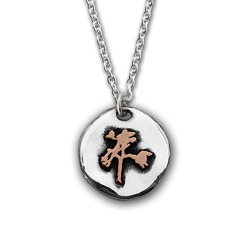 The Joshua Tree Round Silver/Bronze Pendant on Chain