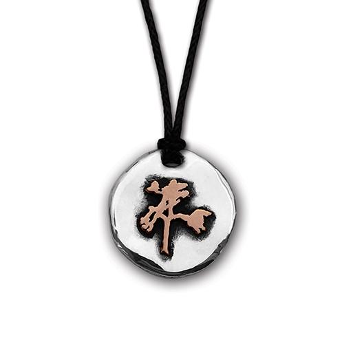 The Joshua Tree Round Silver/Bronze Pendant on Cord
