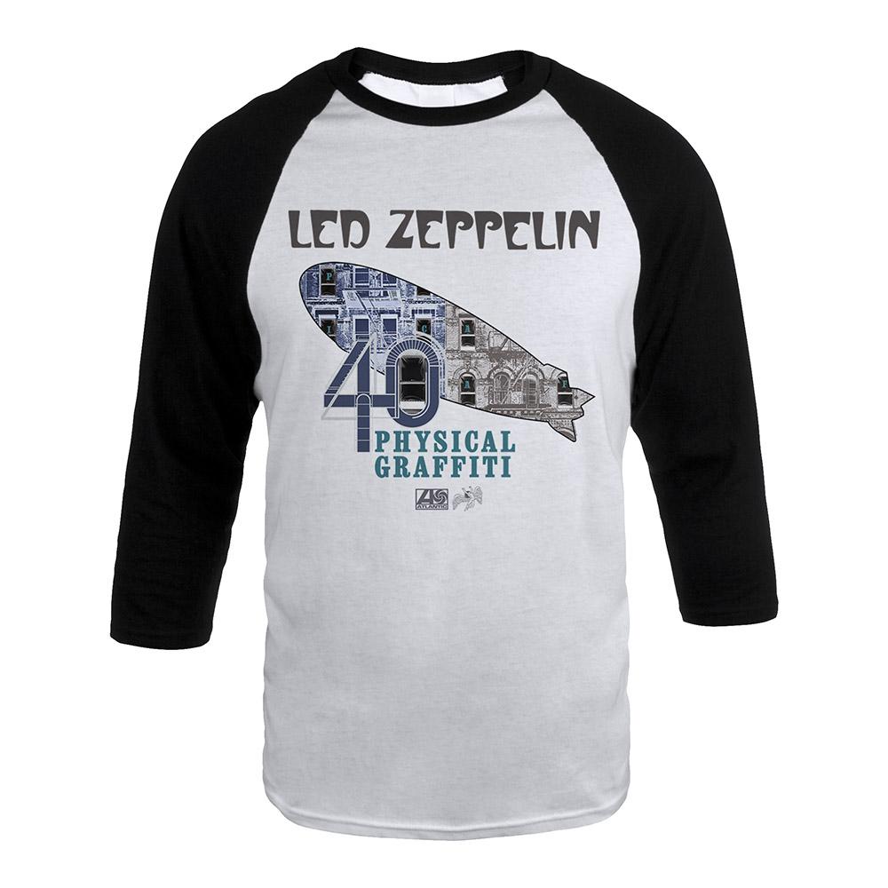 Led zeppelin official store led zeppelin physical graffiti album led zeppelin physical graffiti album art blimp on a white black raglan sleeve shirt biocorpaavc Gallery
