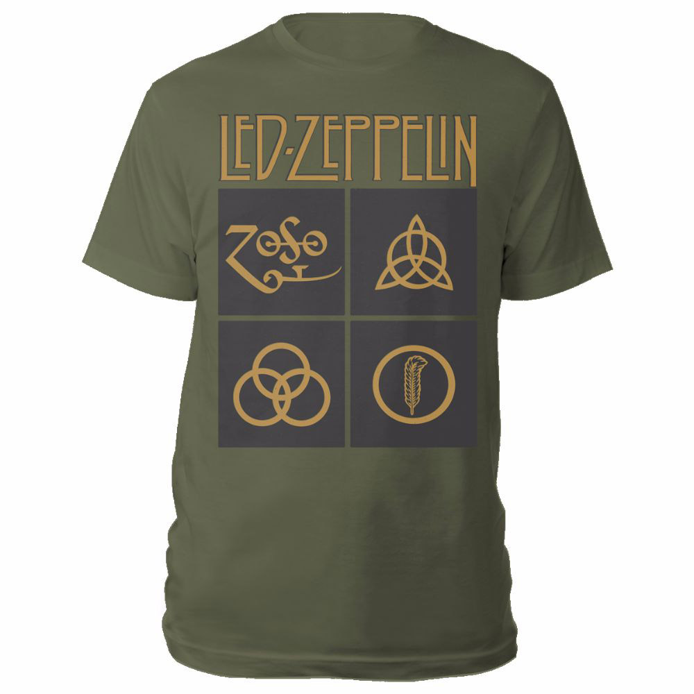 Led zeppelin official store led zeppelin gold symbols in black led zeppelin gold symbols in black squares olive green t shirt biocorpaavc