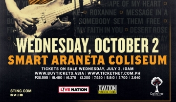 76fe53f19491f Cherrytree Management, Live Nation and Ovation Productions have confirmed  that Sting: My Songs will be presented at the Smart Araneta Coliseum on 2  October.